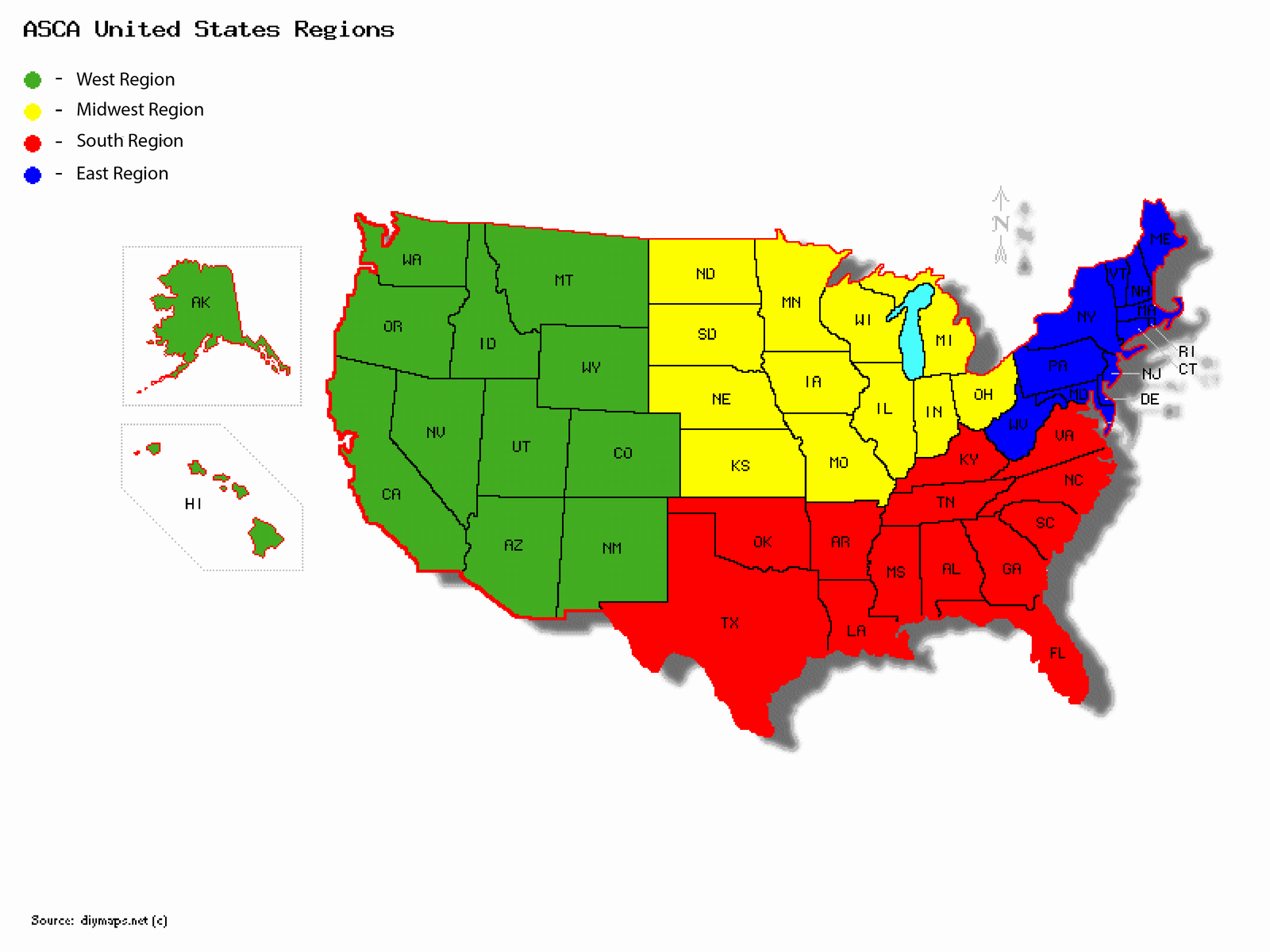 ASCA - Us map east west midwest